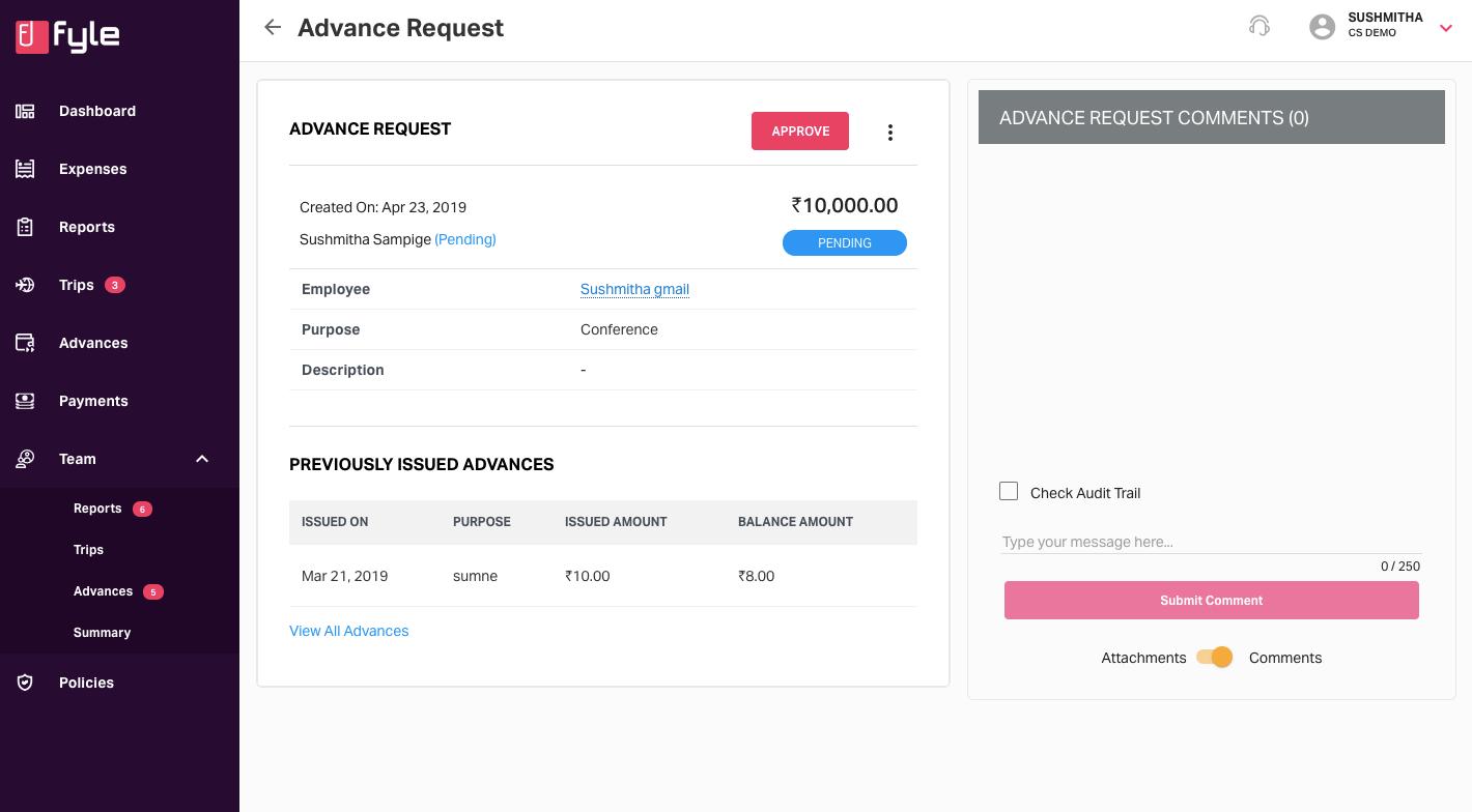 Advance request page