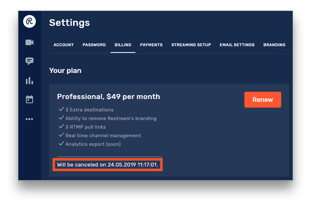 Your canceled subscription will last until the end of the paid period