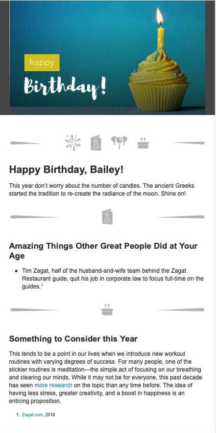 Happy Birthday Email Example