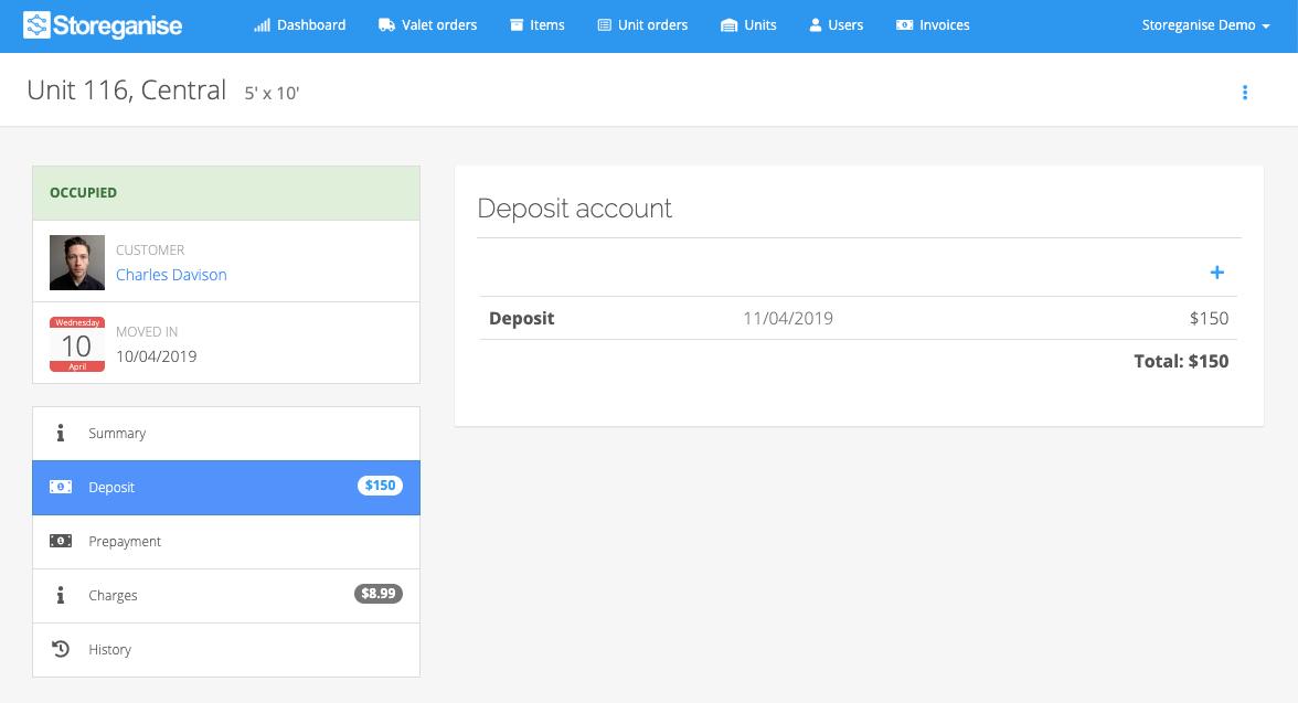 unit details: deposit account