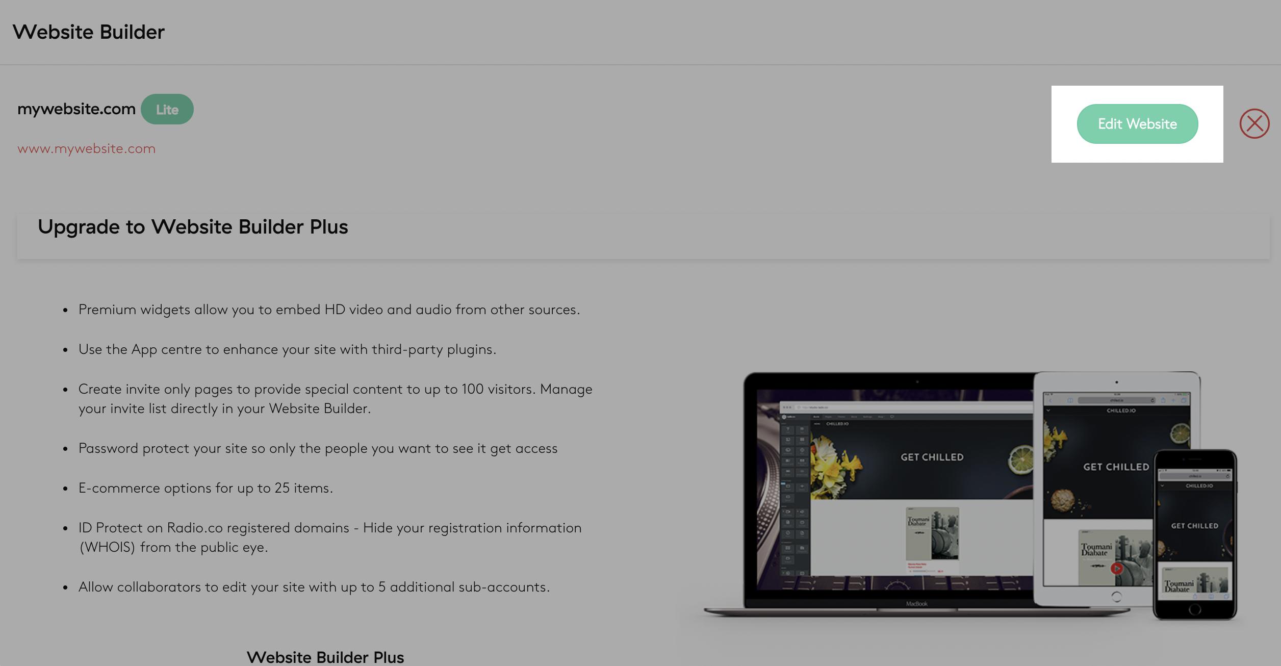 website builder add-on