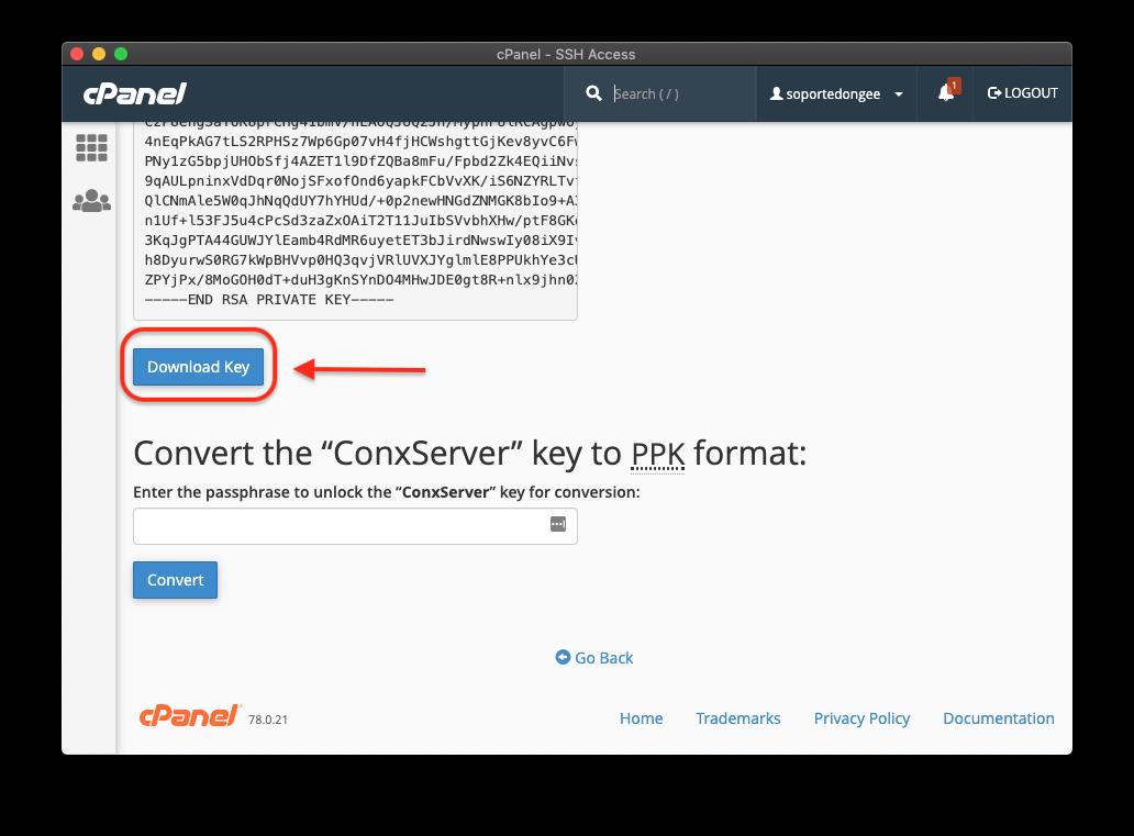 cpanel download key
