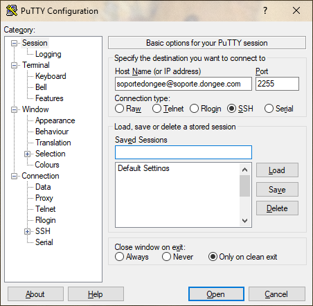 putty ssh access