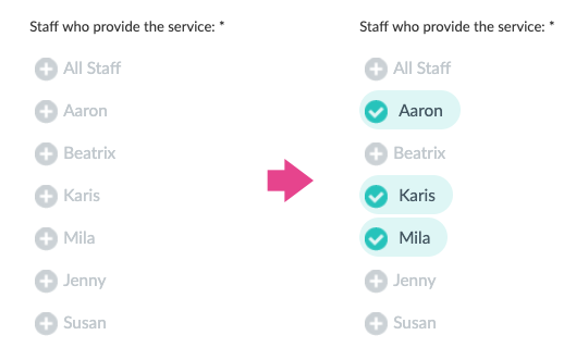 Assigning staff members for a service