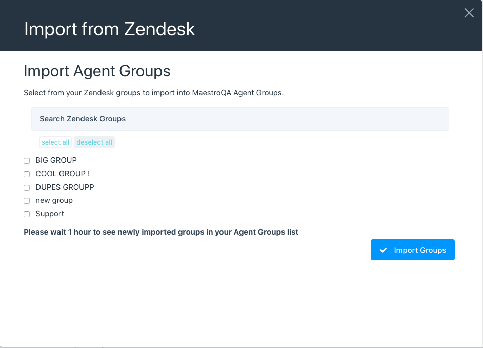 import zendesk groups to maestroqa agent groups