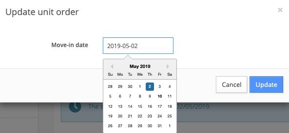 update unit order move-in date