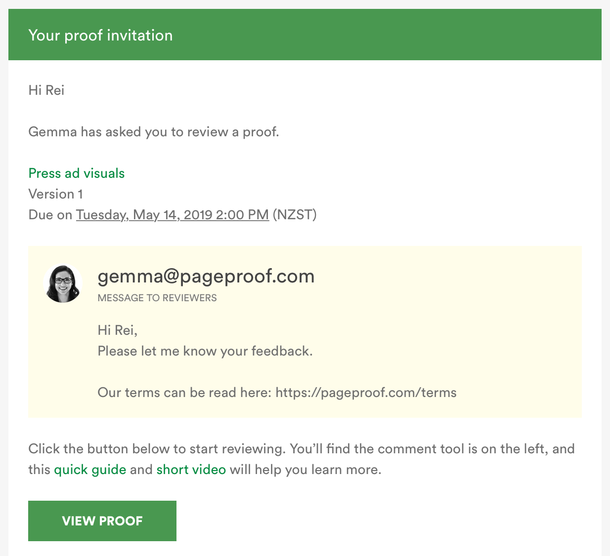 Proof invitation email example