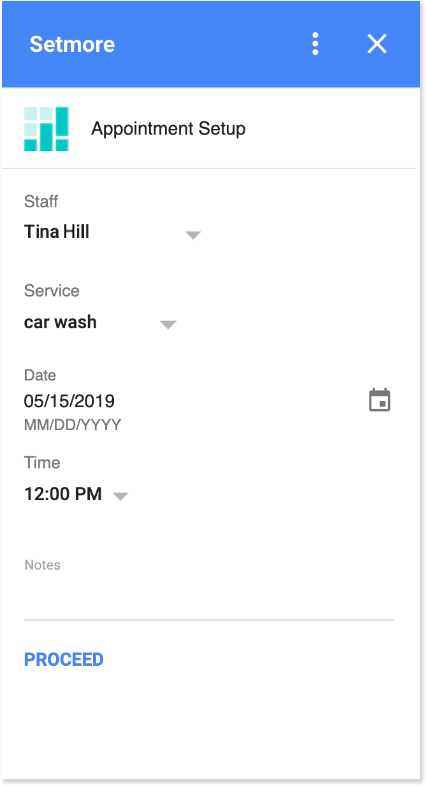 The Appointment Setup in the Setmore Gmail add on
