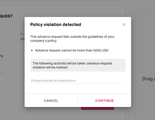 policy violation pop-up message