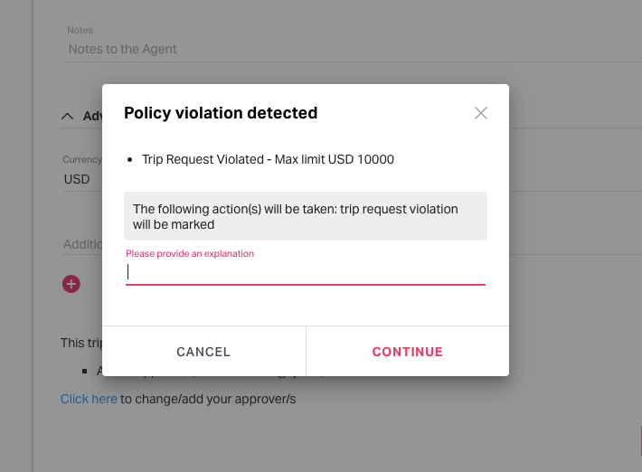 trip request policy violation pop-up message
