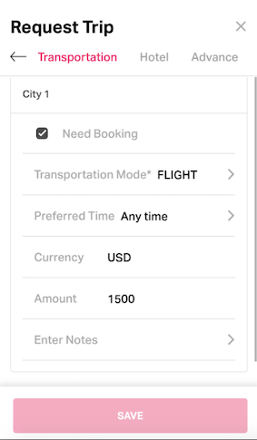 Raising transport request for the specific trip on Fyle