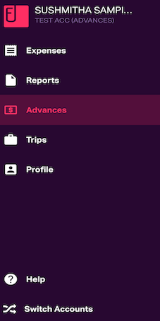 Advances tab in the mobile dashboard
