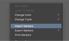 """Control+click within the marker tool and select """"import markers."""""""