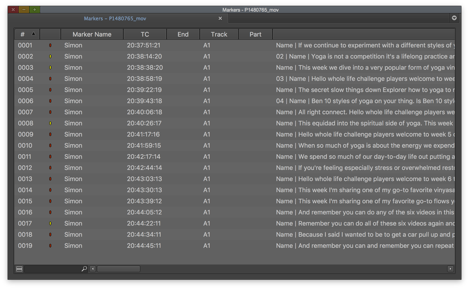 The Avid comments field will contain, in this order: note, speaker, transcript.