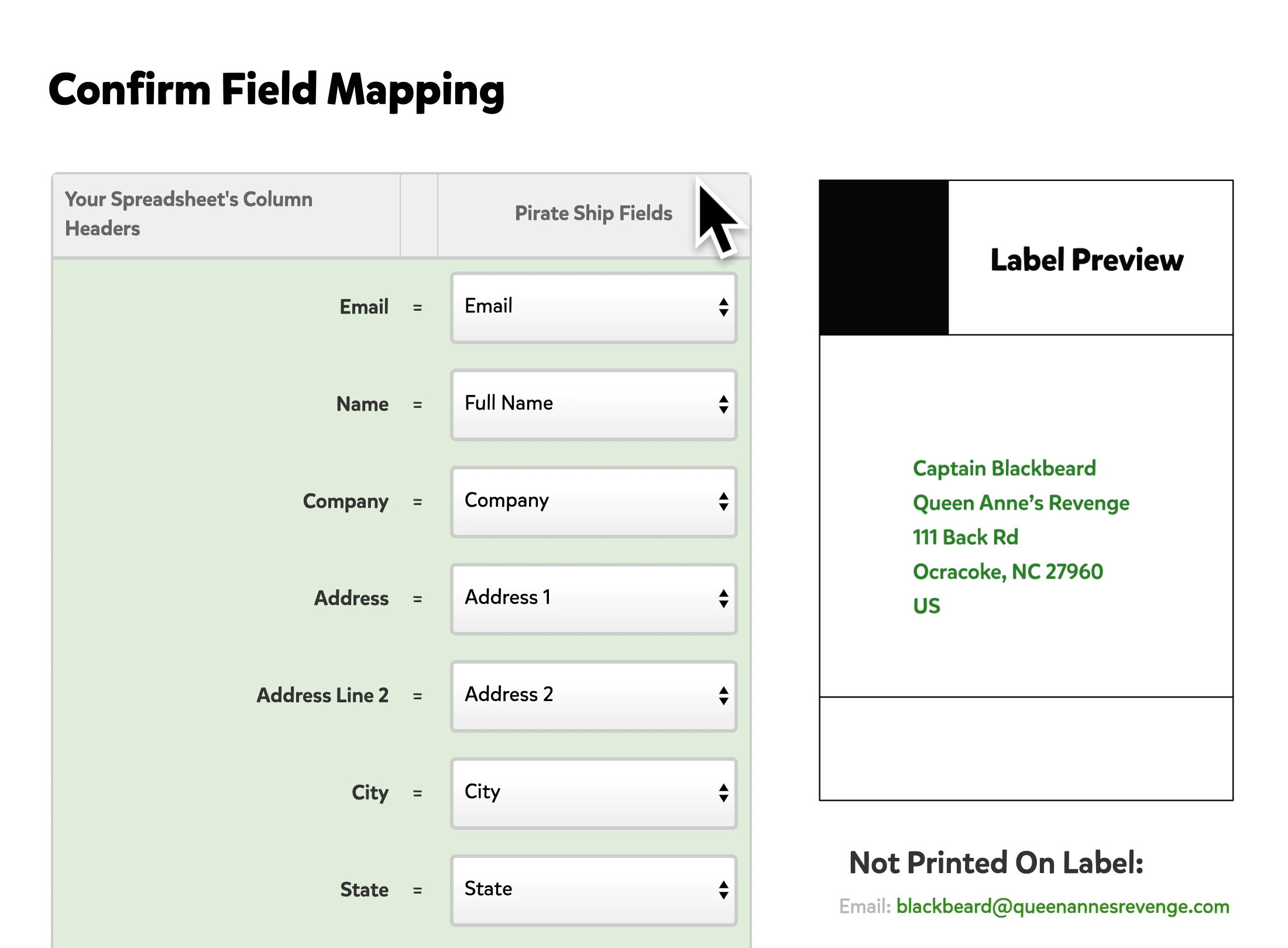 A screenshot showing the Field Mapping page that appears after a spreadsheet is uploaded. The different column headers on your spreadsheet are listed towards the left, and drop down menus to map this data appears on the right.