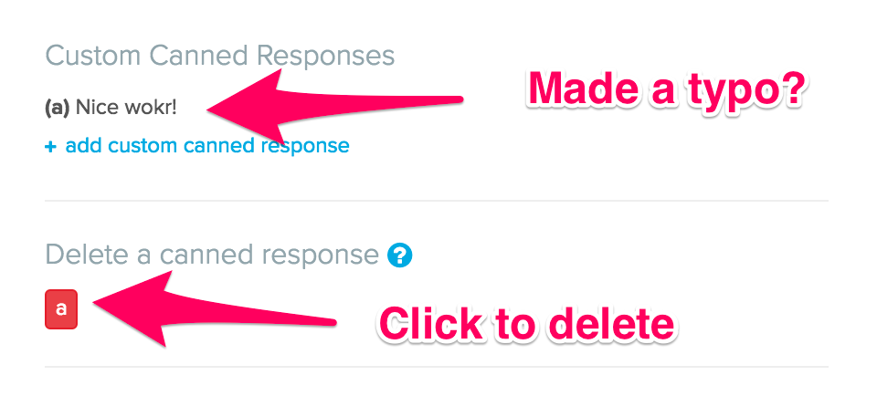Image showing how to delete a canned response