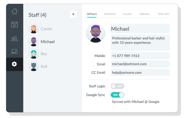 Staff Details tab viewed on the Setmore web app