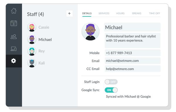 Staff Details tab viewed on the Setmore web app