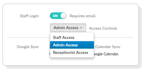 The different Staff Login access controls