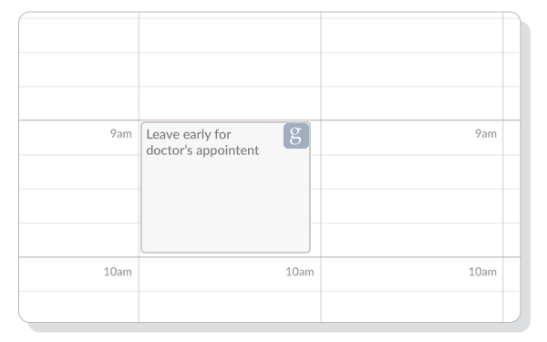 A google event displayed on the Setmore Calendar