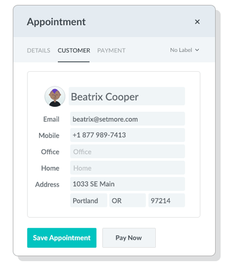 Customer tab in Appointment Window