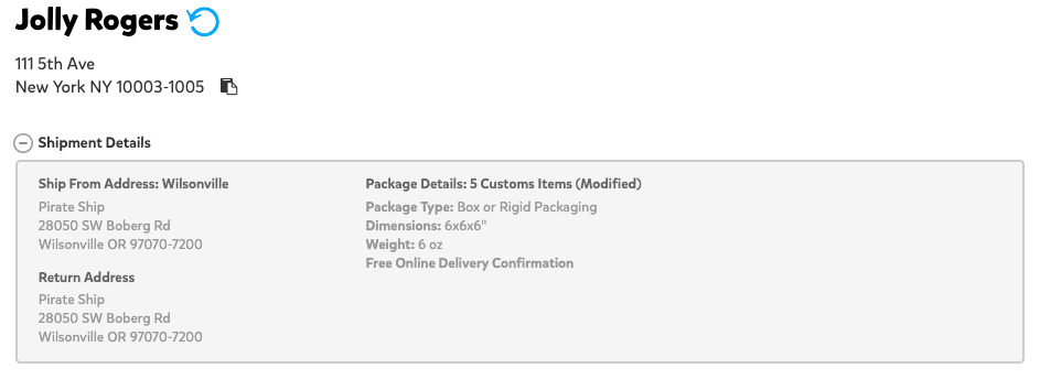 A screenshot showing the shipment details that appear right before the label is purchased. At the top left corner where the recipient's name is shown, there is a blue circular arrow to the right which indicates that a return label has been created.