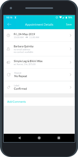 Appointment Details menu in the Setmore mobile app
