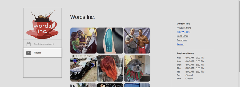 Instagram images streaming on the Setmore Booking Page