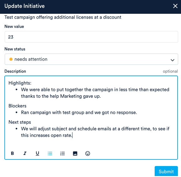 Update Initiative including highlights, blockers, and next steps in description field