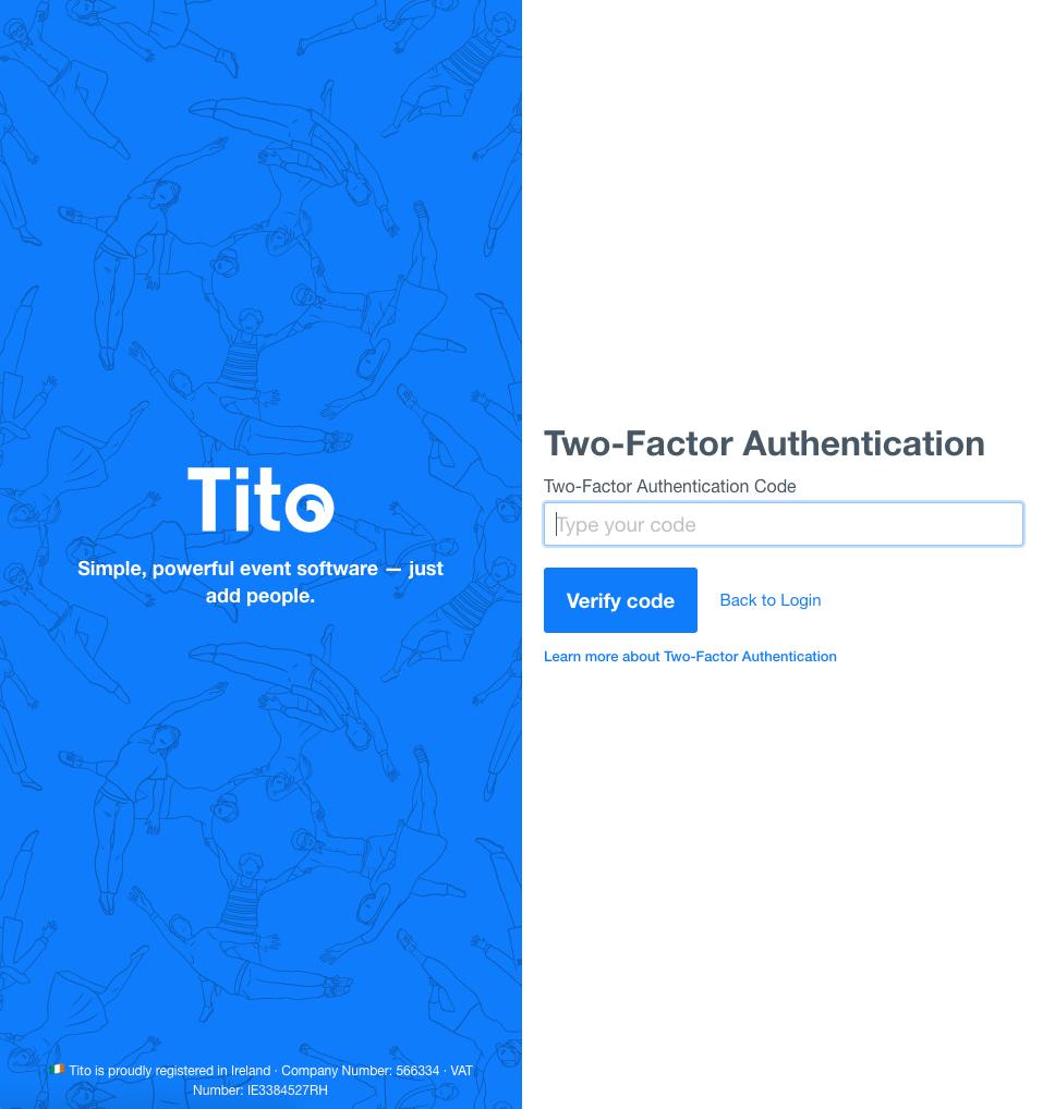 A screenshot of the Tito 2FA login step.