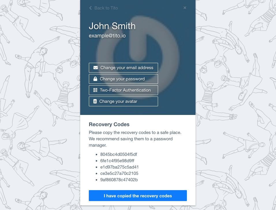 A screenshot of the 2FA settings screen with 4 example recovery codes.