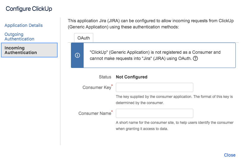 Incoming Authentication JIRA