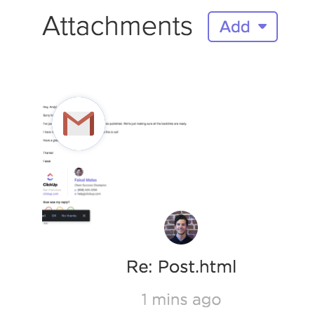 When you attach an email to a task you'll see it under your attachment section in the task