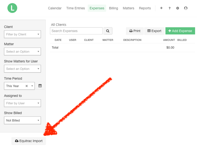 A screenshot of the Expenses page with the Equitrac Import button indicated