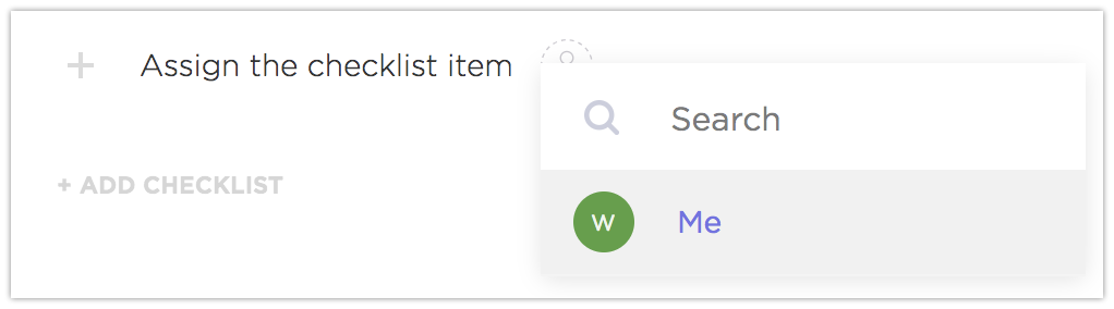 how to add an assignee to a checklist item