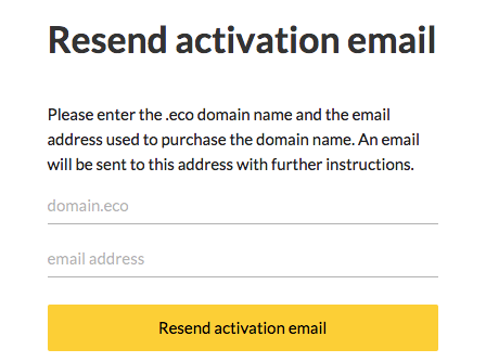 Screenshot of 'Resend activation email' form