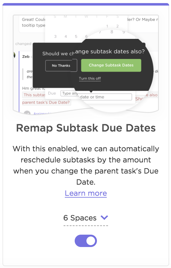 The remap subtasks due date ClickApp.