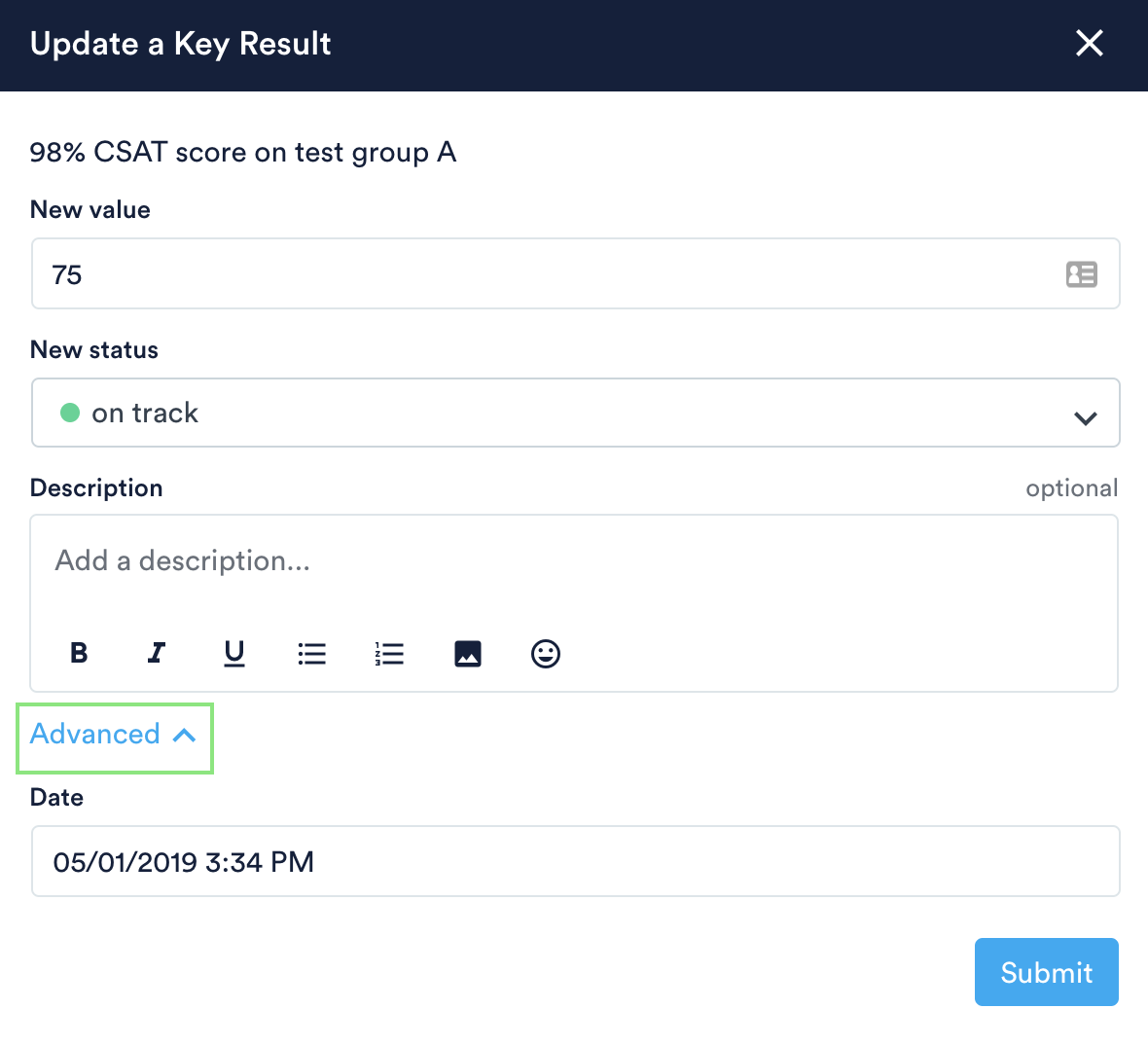 Advanced options to backdate a progress update