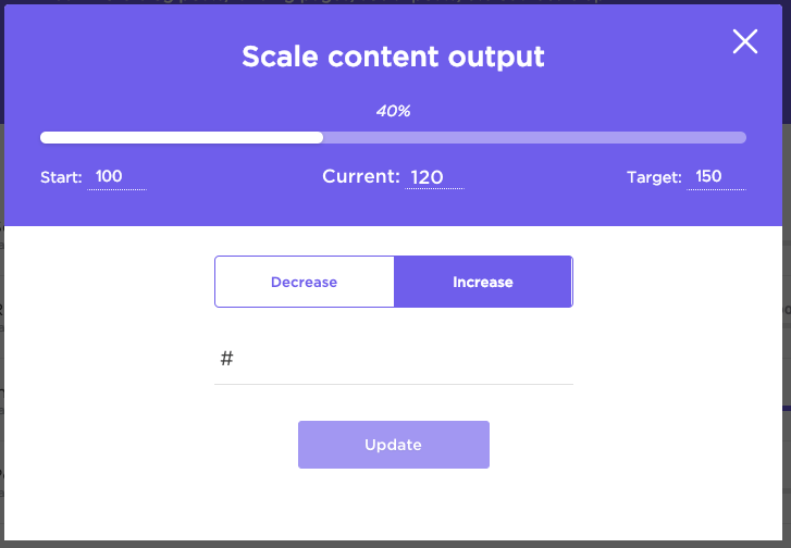 target menu where you can increase or decrease the target value