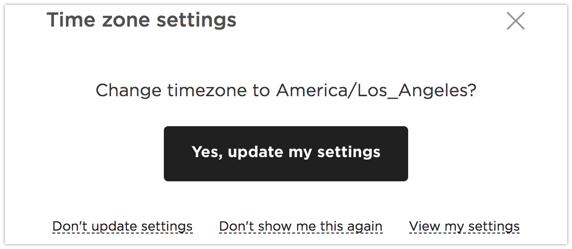 Image of Time Zone settings modal