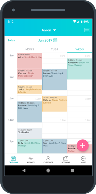 The calendar displaying color coded appointments
