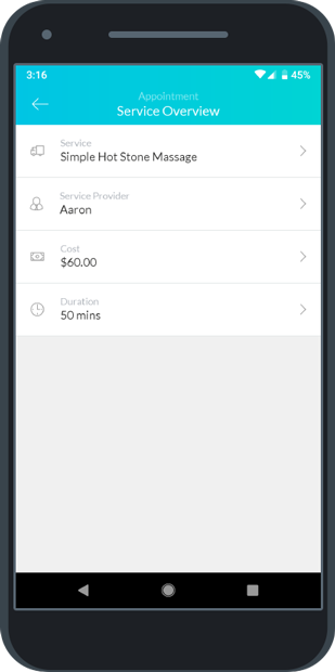 The Service Overview menu in the mobile app