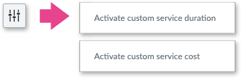 The Settings icon to alter service cost and duration