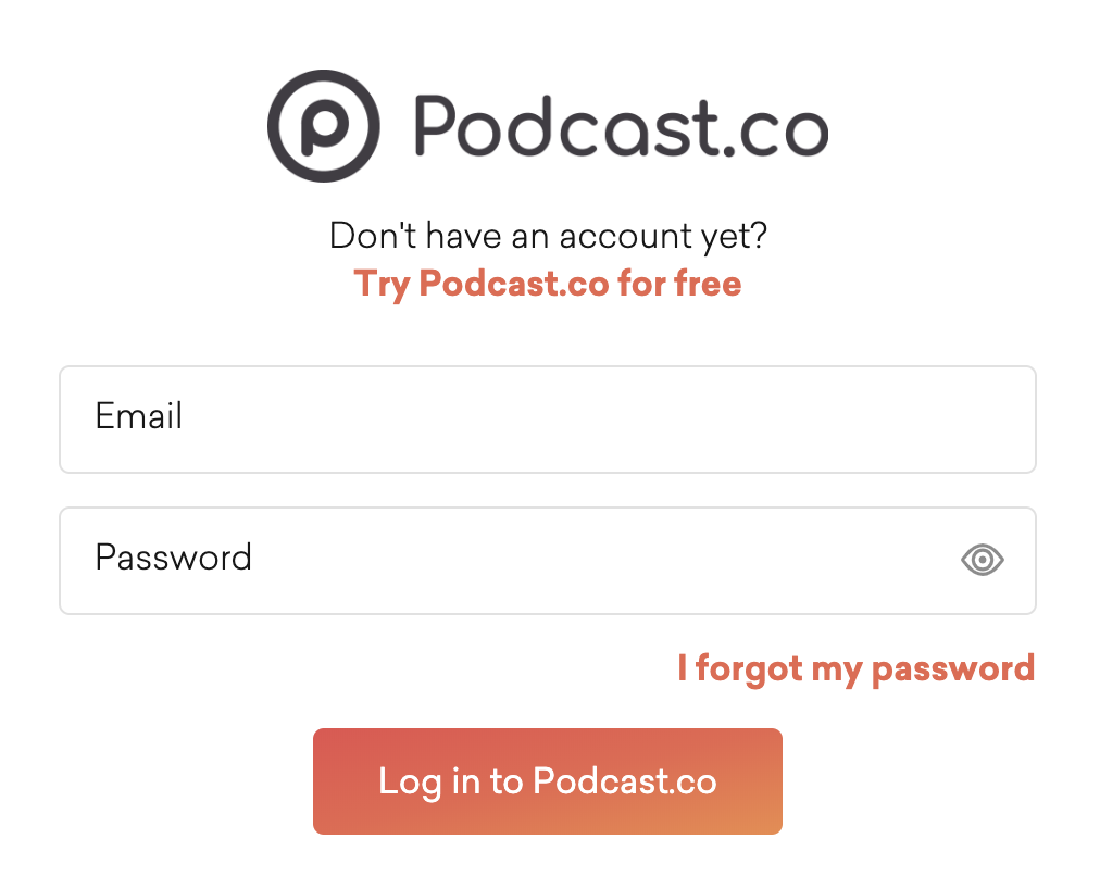 Podcast.co sign in page