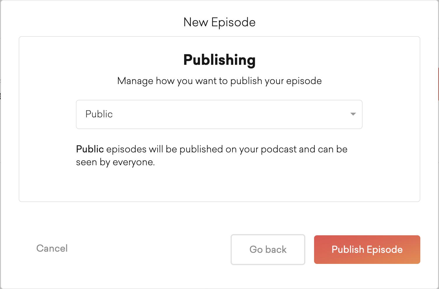 publishing new episode