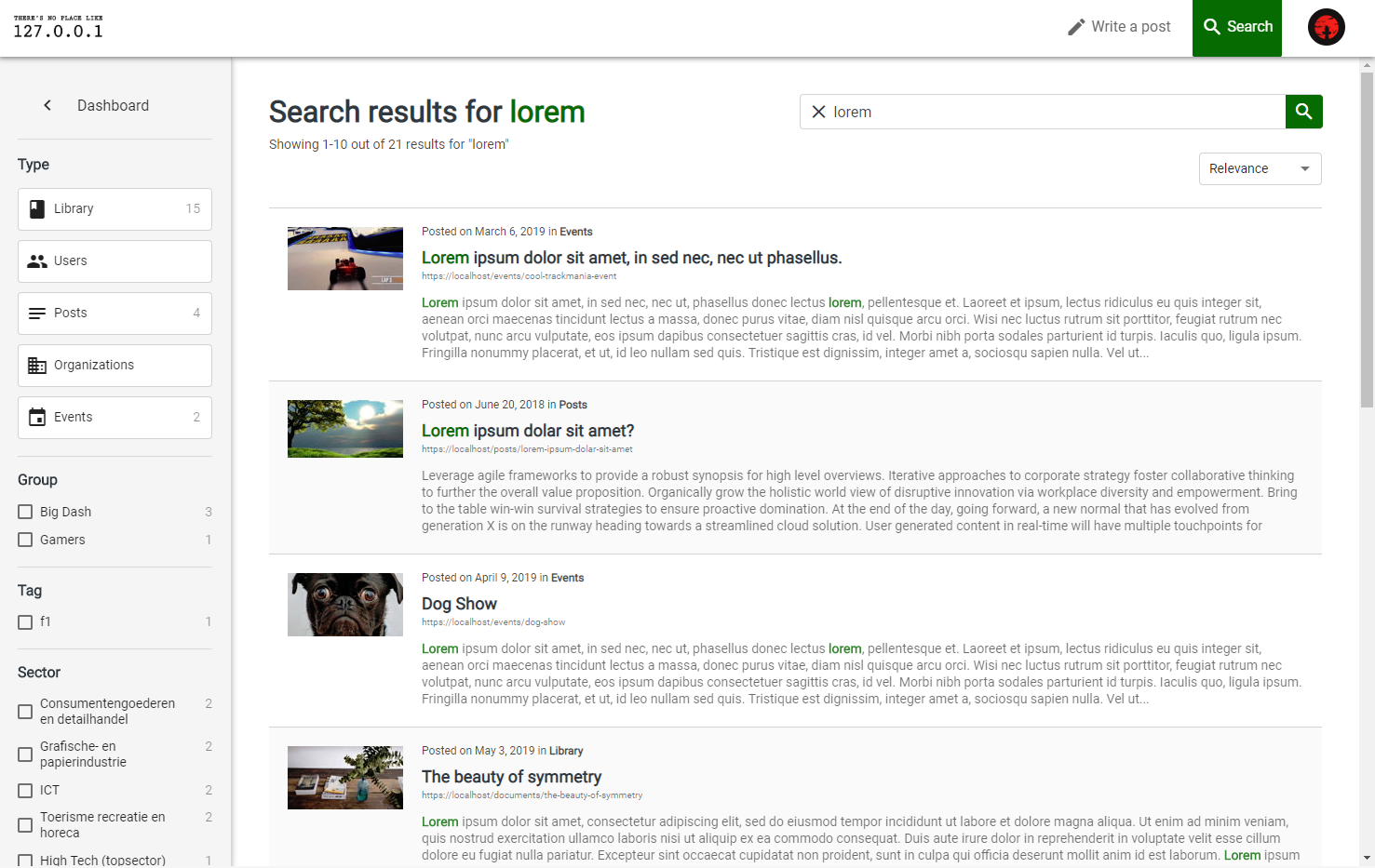 Screenshot of new search page