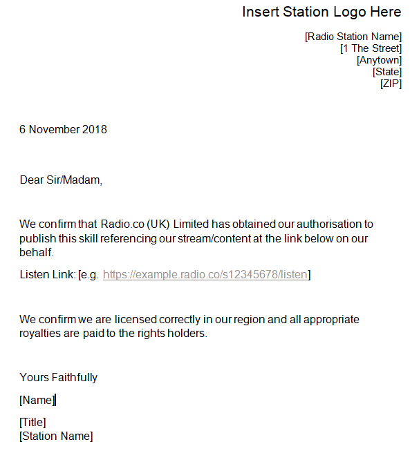 alexa permission document template