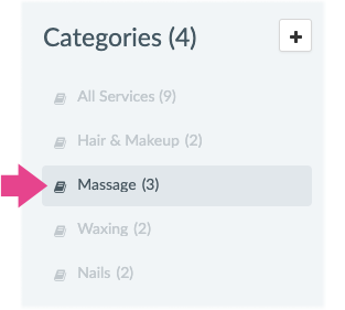 Service categories of a Setmore account