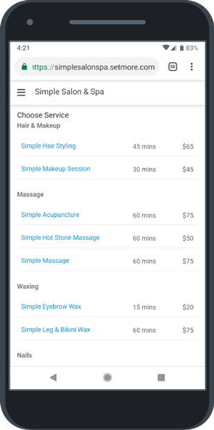 Service categories listed on the Booking Page