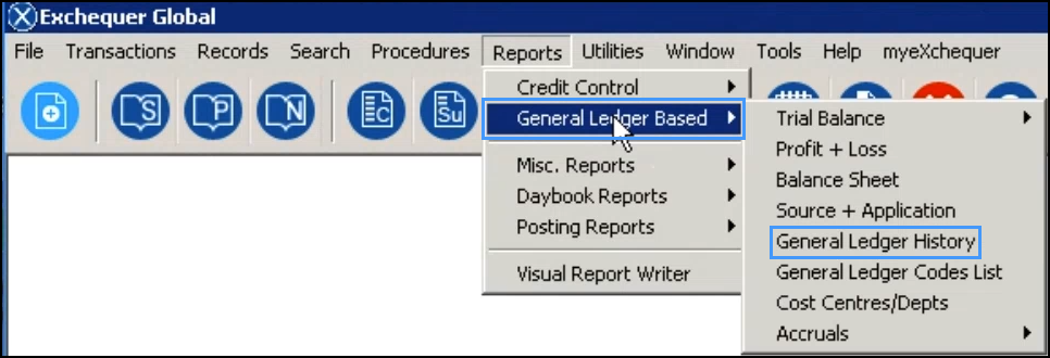 exchequer global reports menu with general ledger based selected
